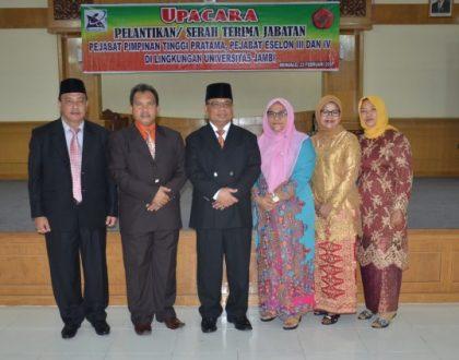 Rektor Lantik Dua Pejabat Pimpinan Tinggi Pratama Unja