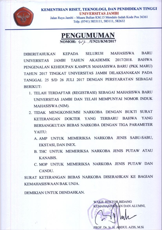 PENGUMUMAN PENGENALAN KEHIDUPAN KAMPUS MAHASISWA BARU 2017 ...