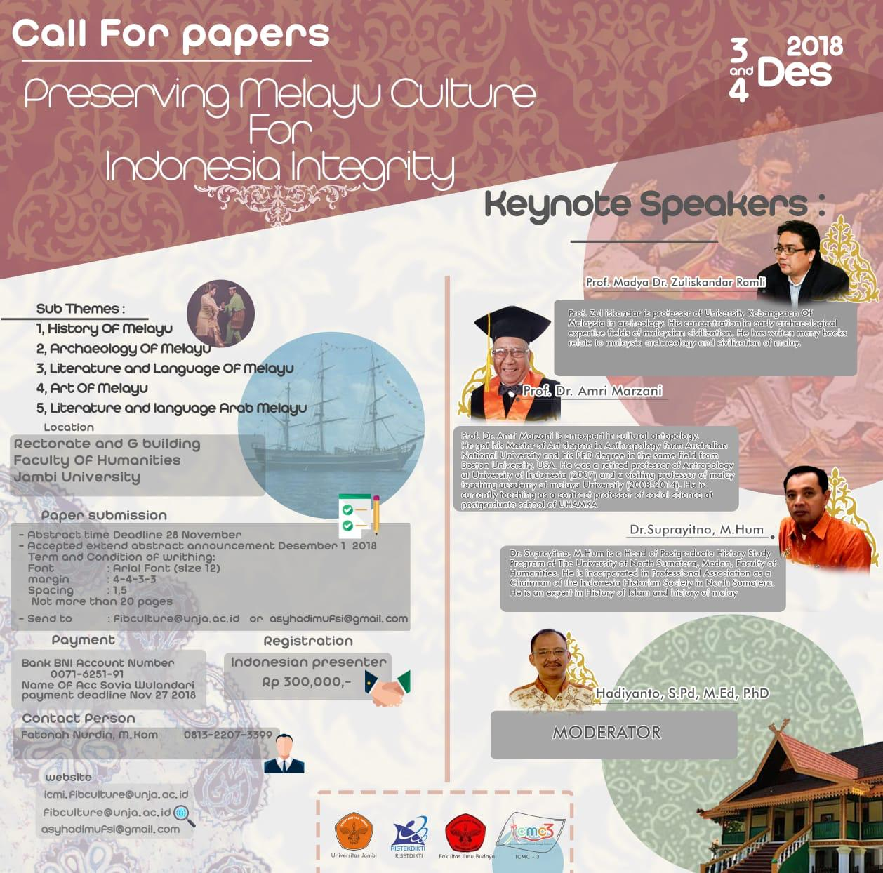 CALL FOR PAPERS PRESERVING MELAYU CULTURE FOR INDONESIA INTEGRITY – Universitas Jambi